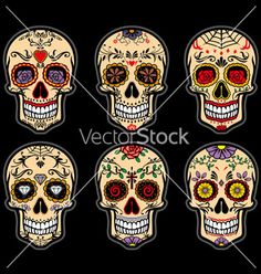 Sugar skull day of the dead set vector - by bazzier on VectorStock®