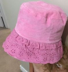 Child Girl Roots Brand Eyelet Tilley HAT With Chin Strap Pink NEW L XL 2 4 YRS | eBay
