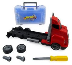 Big Rig Tool Box Hauler Truck - Take Apart Work Bench Set for Kids by Polyfect Toys. $19.49. Fun complete tool set your kids will love!   The Big Rig Tool Box Hauler is an awesome toy.  The truck is a complete tool work bench that is fun to take apart and put back together.  Simply pull the switch on the bottom of the truck to release the tool box.  The tool box holds over-sized screws, screwdriver, wrench, and wheels.   The truck can be completely dismantled.  The smoke stack...