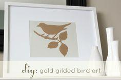DIY Gold Gilded Bird Art- Tutorial at Satori Design for Living