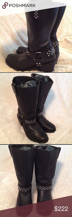 """Harley-Davidson Bling Boots Size 10 Show Your Style in these Genuine Harley-Davidson Black Leather Bling Boots Size 10. Minor use, great soles, insoles and only minor scuffs from minimal use. Zippered for easy access and full of sexy style that shows at your jean hemline  3"""" heel height. Shaft height 10"""" around mid calf on me. Price firm unless bundled. Harley-Davidson Shoes Combat & Moto Boots"""