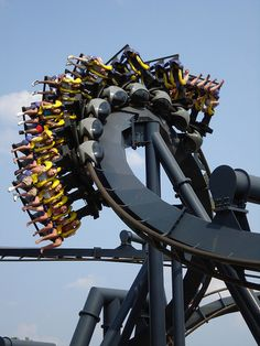 """A B&M Inverted Coaster. It's almost impossible to travel to a Six Flags park and not run into one of these. This model features 5 inversions, and quite a few twists and turns along the way. Most of these coasters are called """"Batman: The Ride"""". There are a few exceptions like """"Goliath"""" at Six Flags Fiesta Texas."""