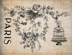 Shop for on Etsy, the place to express your creativity through the buying and selling of handmade and vintage goods. French Images, Paris Poster, Antique Illustration, Bird Cages, Digital Collage, Collage Sheet, Scrapbook Cards, Vintage Prints, Decoupage