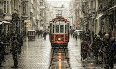 Tramway in Istanbul, Taksim Cityscape Wallpaper, Street Photography, Art Photography, Photography Tricks, Creative Photography, Empire Ottoman, Tramway, Foto Art, Bazaars