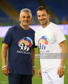Roberto Baggio poses with Alessandro Del Piero prior to Interreligious Soccer Match for Peace, supported by Pope Francis at Rome's Olympic Stadium in Rome, Italy on September Get premium, high resolution news photos at Getty Images Ronaldo Football, Football Fans, Roberto Baggio, Soccer Match, James Rodriguez, Soccer Stars, Zinedine Zidane, Best Player, Olympics