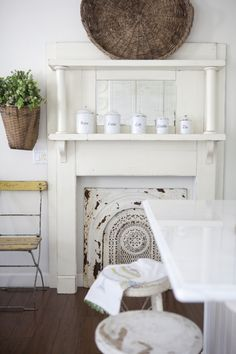 Faux Dining Room Fireplace Whitewashed Cottage Chippy Shabby Chic French Country Rustic Swedish Decor Idea