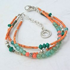 Coral 3 Strand Bracelet -Summer Beaded Bracelet With Pearls, Jade, Apatite and Coral from www.mymusejewelry.com