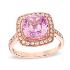 9.0mm Cushion-Cut Lab-Created Pink and White Sapphire Ring in Sterling Silver with 14K Rose Gold Plate - Size 7  - Peoples Jewellers
