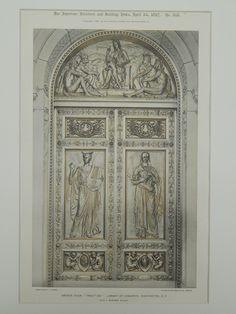 Tradition Bronze Door, Library of Congress, Washington, DC, Photograph. Olin L. Grand Entrance, Entrance Doors, Doorway, Front Doors, Arched Windows, Windows And Doors, Door Knockers, Door Knobs, Window Handles