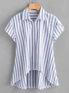 SheIn offers Contrast Striped Petal Sleeve Dip Hem Shirt & more to fit your fashionable needs. Crop Top Und Shorts, Blue Fashion, Fashion Outfits, Fashion Styles, Petal Sleeve, Linen Blouse, Casual Tops, Casual Wear, Diy Clothes