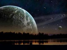 Fantasy - What Saturn would look like if it were as close to Earth as the moon.
