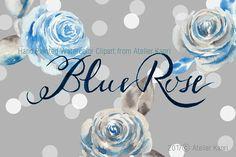 Vintage Blue Rose Clipart by Atelier Kaori on Rose Clipart, Flower Clipart, Passion Flower, Textile Design, Vivid Colors, Watercolor Art, Wedding Invitations, Clip Art, Hand Painted