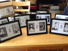 Table numbers...pictures of us at each age