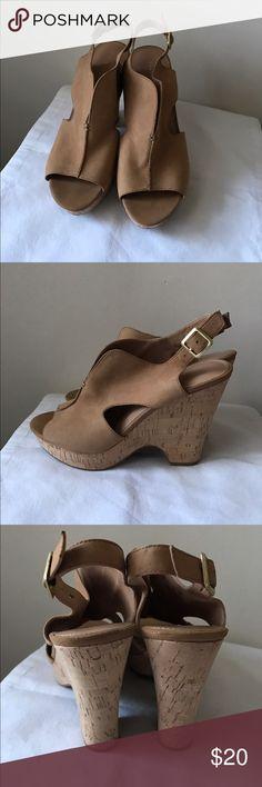 Franco Sarto brown leather wedge heels Brown leather platform wedge heels - adjustable buckle strap - size 9 Franco Sarto Shoes Wedges