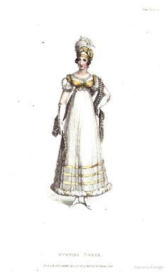 Evening Dress from Ackermann's Repository of the Arts April 1818