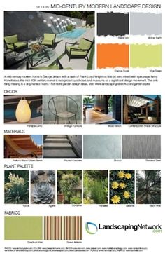Get ideas and inspiration for creating a mid-century inspired patio, deck or other outdoor space. For a printable, high-res version go to: http://www.landscapingnetwork.com/garden-styles/Mid-Century-Modern-Landscape-Design.pdf