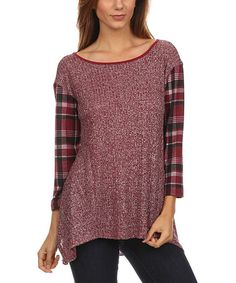 Another great find on #zulily! Maroon & Black Plaid Layered Tee - Plus #zulilyfinds