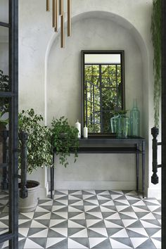 Connect indoor and outdoor spaces with encaustic cement tiles | Livingetc Outdoor Spaces, Outdoor Tiles, Encaustic Cement Tile, Indoor, Tile Design, Modern Entryway Decor, Outdoor Flooring, Wall Design, Interior Wall Design