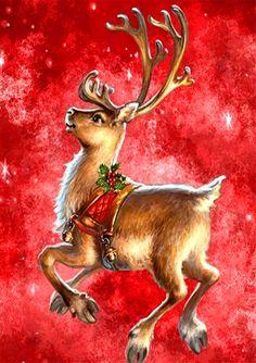Christmas Artwork, Christmas Drawing, Christmas Paintings, Christmas Wallpaper, Christmas Scenes, Christmas Deer, Christmas Animals, Illustration Noel, Christmas Illustration