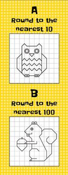 Rounding Mystery Picture puzzles for rounding to the nearest 10 (owl) or 100 (squirrel.) Kiddos solve the clues by rounding up or down then draw the lines in the squares to reveal the picture. Third Grade Math, Grade 3, Fun Math, Maths, Teaching Math, Teaching Ideas, Math Round, Owl Activities, Rounding Numbers