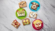 Make mornings fun by turning ordinary toast into cute animals by using peanut butter, cream cheese, bananas and veggies. Ingredients: Peanut butter, Banana slices, Blueberries