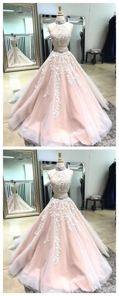 fdc18c0a815f3 Champagne two pieces lace long prom dress,champagne evening dress P0947  #2piecespromdress #2piece