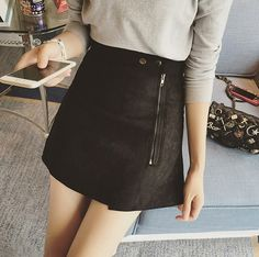 Autumn New Fashion Suede Skirt Women Zipper Solid Tutu Skirts Retro Style Casual All-Match Skirts Saia Feminina B5O209