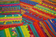 Mexican Blankets from Painted Paper. Good project for line at the beginning of the year.