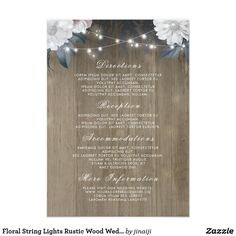 Floral String Lights Rustic Wood Wedding Details Card The wedding details cards with the beautiful flowers and string lights
