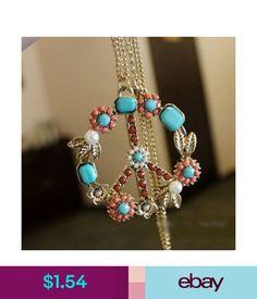Necklaces & Pendants Retro Floral Peace & Love Sign Boho Hippie Pendant Long Statement Necklace Chain #ebay #Fashion