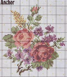 Butterfly Cross Stitch, Cross Stitch Rose, Tapestry Crochet Patterns, Vintage Cross Stitches, Rose Bouquet, Needlepoint, Cross Stitch Patterns, Kids Rugs, Embroidery