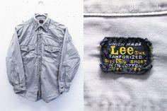 Vintage 60s Lee Workwear Grey Sanforised Union Made Cotton Long Sleeve Button Down Work Shirt Made in U.S.A. 15 1/2 Short Medium