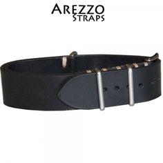 Bracelet NATO Arezzo Cuir Noir 20mm - La Boite à Montres