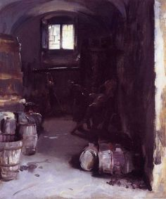 """Pressing the Grapes Florentine Wine Cellar,"" John Singer Sargent, 1882, oil, 32.9 x 19.6"", Beaverbrook Art Gallery."