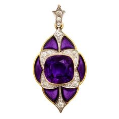 MARCUS & Co Amethyst Diamond Pendant, circa 1900, USA