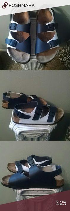 Birkenstock Birki's in EUC EUC Birkenstock Birki's Milano Sandal - 2 Tone Blue - Solid Footprint -Contoured Cork Footbed - Size L8 M6 Birkenstock Shoes