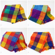 They would also be great to help decorate or set your table at your next Mexican fiesta or wedding! These beautiful multicolored patterns with decorative fringe are stunning! Mexican Home Decor, Kitchen Makeovers, Table Linens, Home Decor Items, Plaid Scarf, Mexico, Home And Garden, Patterns