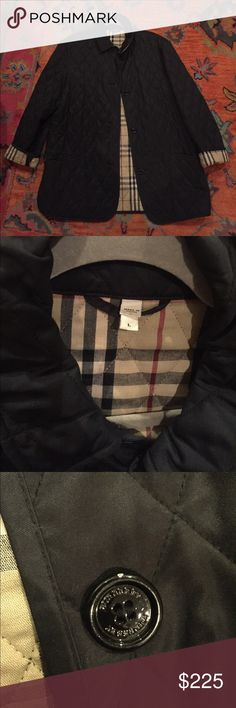 Burberry Jacket (Sz L) EUC Beautiful and classic Burberry Jacket. Very minimal signs of wear- minor chips on two of the buttons (pictured) and some interior lining piling. This item is a Re-Posh and unfortunately is just a little too roomy on me. Should fit Sz 10-14. Burberry Jackets & Coats