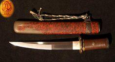 This is an Antique Japanese Samurai sword. A Shinshinto O-Kissaki Tanto with a very nice Koshirae and fawless blade in good polish. A Suguha Hamon with nie-deki & Nie, 3 mekugi-ana, unsigned. A realy perfect fawles blade and nice Koshirae with Higo mounts in very good condition. bladeshape ; Shinogizukuri O-Kissaki Tanto length 19.0 cm wide 2,6 cm thick 0.5 cm Sori = Uchi sori