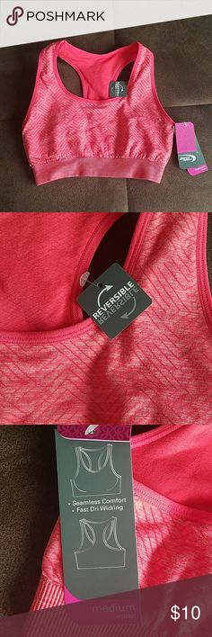 NWT REVERSIBLE Athletic Racerback workout bra Very cute, vibrant coral color and print. Super comfortable. Reversible, seamless, fast dri wicking. Racerback Intimates & Sleepwear Bras