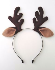 Reindeer Antlers Headband With Ears - Plush Christmas Fancy Dress Cosplay Party Alice Band Cute Hair Accessory by BlackHartBoutique on Etsy