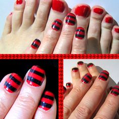Sally Hansen Salon Effects 540 stripe-tease  O.P.I. color so hot it berns (on toes)