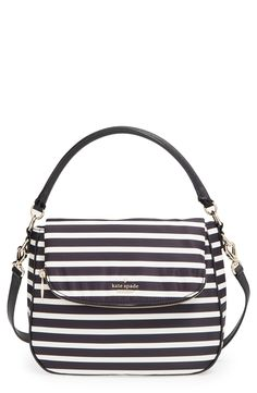 Loving the black and white stripes that heighten the uptown sophistication of this effortlessly chic Kate Spade flap bag with an optional, adjustable crossbody strap.