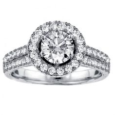 2.26 CT TW 2-Row Pave Set Diamond Halo Engagement Ring in 14k White Gold