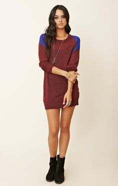 sweater dresses and booties | American Vintage Long Sleeve Sweater Dress #colorblock #colorblocking ...