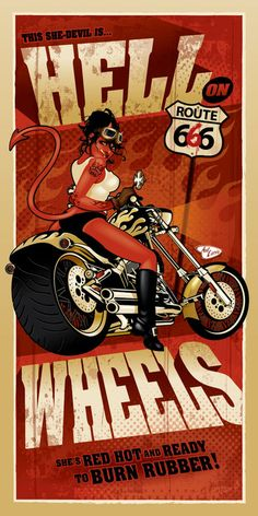 Hell on Wheels by Ant Lucia **These are large high grade posters that measure and have a spot gloss varnish! Ghost Rider, Tarzan Disney, Motard Sexy, Motorcycle Posters, Trike Motorcycle, Halloween Artwork, Hell On Wheels, Garage Art, Bike Style