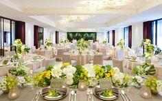 結婚式 テーマ - Google 検索 Yellow Wedding, Centerpiece Decorations, Banquet, Flower Designs, Wedding Table, Tablescapes, Table Settings, Bridal, Flowers