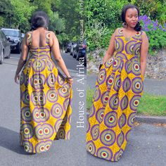 African print fit and flare maxi dress with a full skirt with box pleats. The skirt has deep full pockets and is fully lined with a zip at the back. The style of the dress gives a flattering silhouette and is sure to give an effortless chic look. Hand made in Ghana. 100% cotton.  UK 10/ US 6 - B - 34, W 31 L 59  Fabric care  Wash in a cool wash. Iron on medium heat and dry away from sunlight.