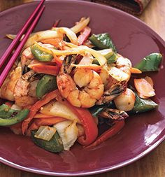 Spicy Shrimp and Vegetable Stir-fry; 301 calories per serving, 6.6 g fat (1 g saturated), 23.6 g carbs, 3.3 g fiber, 32 g protein