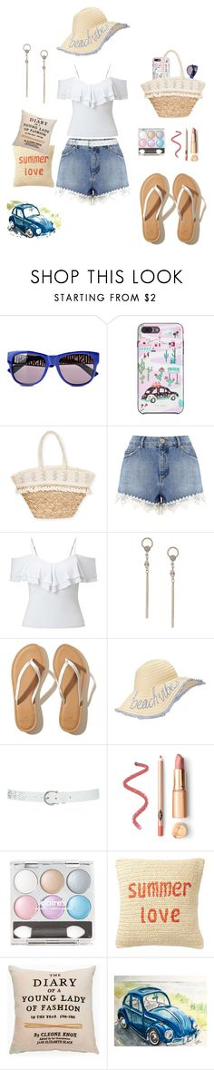 """Crochet Lace Trim Denim Shorts"" by marlaj-50 ❤ liked on Polyvore featuring Moschino, Kate Spade, Sun N' Sand, Miss Selfridge, Hollister Co., M&Co and Nordstrom Rack"